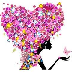 お花飾りが半端ないガールバレンタイン ベクター素材
