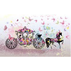 とても華やかな馬車に乗る女の子 ベクター素材