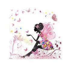 キュートで花と蝶々に囲まれた女の子 ベクター素材