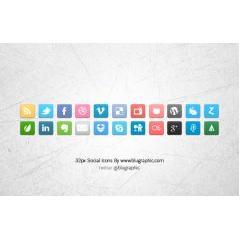 22種類のソーシャルメディアアイコン素材