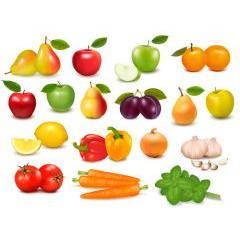 とても美味しそうな野菜とフルーツのアイコン ベクター素材