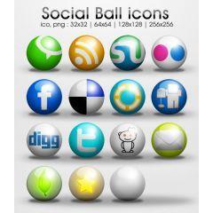 光沢感たっぷりのきれいなボタン型ソーシャルメディアアイコンセット