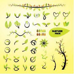 自然の葉っぱのアイコンで春を彩ろう! ベクター素材