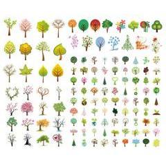 春夏秋冬どの季節にも似合うツリー イラストレーターベクター素材