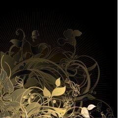 美しい黄金のフローラルベクター素材