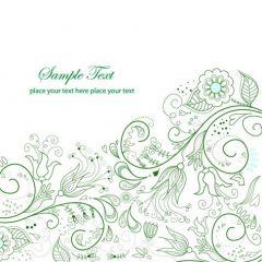 鮮やかな緑のフローラルデザイン ベクター素材