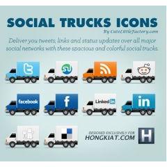 トラックの荷台に描かれたソーシャルメディアロゴアイコン