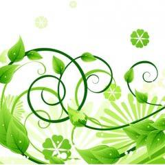 生き生きとしたグリーンフローラルデザイン ベクター素材