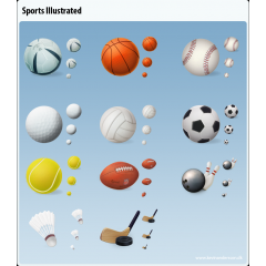 ハイクオリティーなスポーツのボールアイコンセット