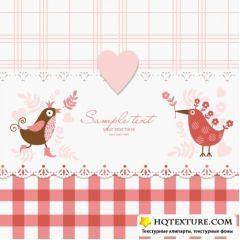 可愛い鳥のポストカードデザイン ベクター素材