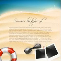 砂浜に描く素敵なメッセージボード ベクター素材