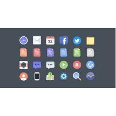 iOS7を意識したフラットデザインアイコン素材