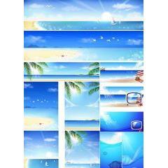 青い空!青い海!夏を感じずにはいられないバナー ベクター素材