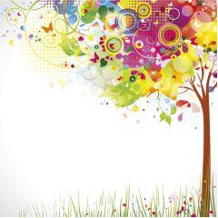 夏にぴったりのカラフルツリー イラストレーターベクター素材