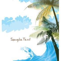 ヤシの木と波が絶妙な夏のデザイン素材