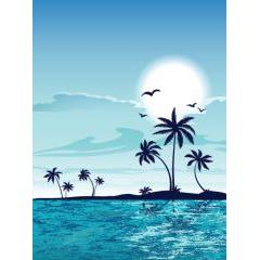 常夏のバカンス!夏のビーチデザイン ベクター素材