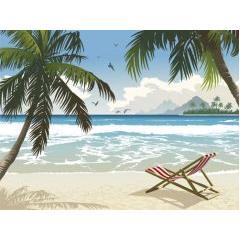 奥行きがあって素敵!トロピカルビーチデザイン ベクター素材