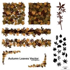 シックで大人感が半端ない秋の枯れ葉デザイン ベクター素材