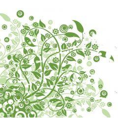 鮮やかなグリーンフローラルデザイン ベクター素材