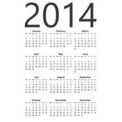 シンプルで見やすい! 2014年カレンダー ベクター素材