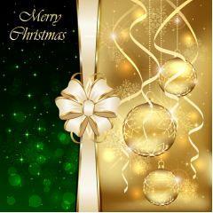 グリーンとゴールド美しすぎる!クリスマスカードデザイン ベクター素材