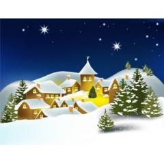 クリスマスに合う冬の町並み ベクター素材