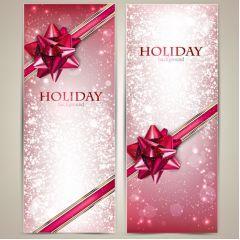 リボンと輝きが凄いクリスマスカード ベクター素材
