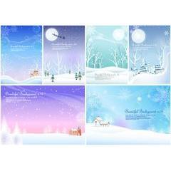 雪景色と七色の夜空、メリークリスマス ベクター素材