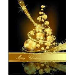 ゴールドのラインが素敵に輝くクリスマスツリーデザイン ベクター素材