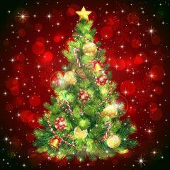 様々な飾りで彩られたクリスマスツリー ベクター素材