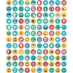 色やファイルのバリエーションも豊富な120種類のかわいいデザインのフラットアイコン
