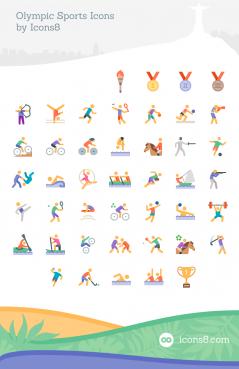 オリンピック競技のかわいいフラットアイコン45個