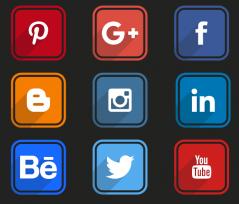丸角のかわいいソーシャルメディア関連のロングシャドウアイコン