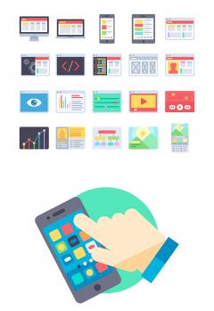 WEBデザイン関係のフラットアイコン素材100個