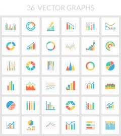 グラフやチャートを表現したカラフルなかわいいフラットアイコン36個。