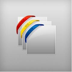 コーナーのデザインに使えるラバーバンドPSD素材