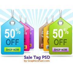 Eコマース向けのセール商品用のタグPSD素材