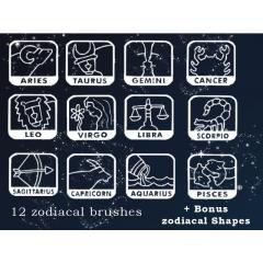 12星座のイラストがとても可愛いphotoshopブラシ素材