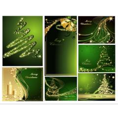グリーンとゴールドの調和が絶妙なクリスマスデザイン ベクター素材