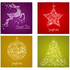 もうすぐクリスマス!美しい背景に4つのクリスマスカード ベクター素材