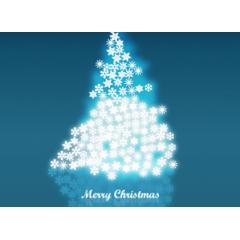 雪の結晶が集まってできたクリスマスツリー ベクター素材