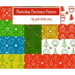 可愛いクリスマスデコレーション photoshopパターン素材