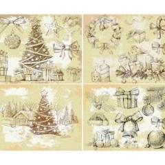 ビンテージ感のあるクリスマスデザイン ベクター素材