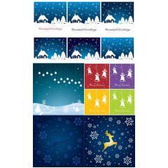 雪景色とホワイトクリスマス ベクター素材