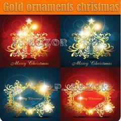 冬に光り輝くゴールドイルミネーション ベクター素材