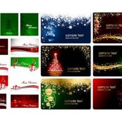 カラフルなデザイン!クリスマスカード ベクター素材