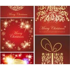赤を基調としたクリスマスのイルミネーション ベクター素材