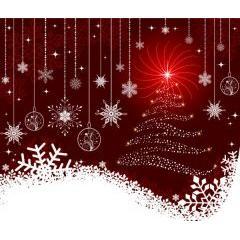 輝き光るクリスマスツリーとゴージャスな雪の結晶 ベクター素材