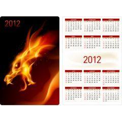 明日に向かって気合いが入る2012年かれんだー ベクター素材