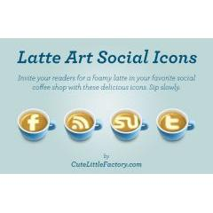 暖かいカフェラテにデザインされたフェイスブックとSNSアイコン